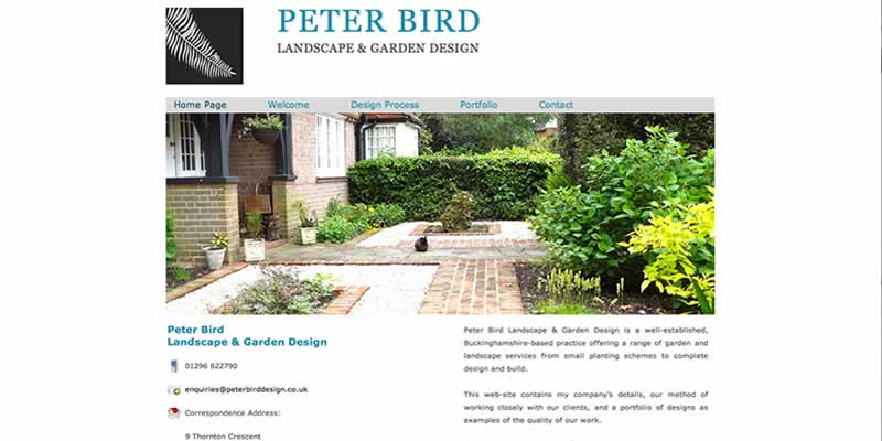 Peter Bird Landscape Landscape Gardener Website Design