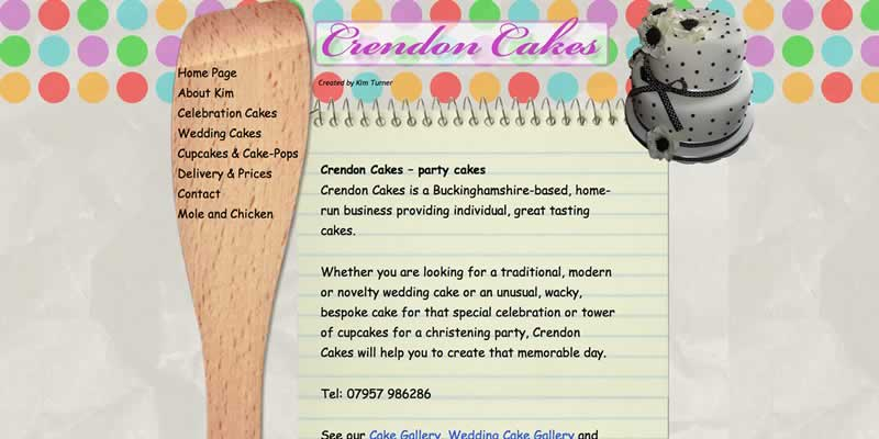 Crendon cakes website design