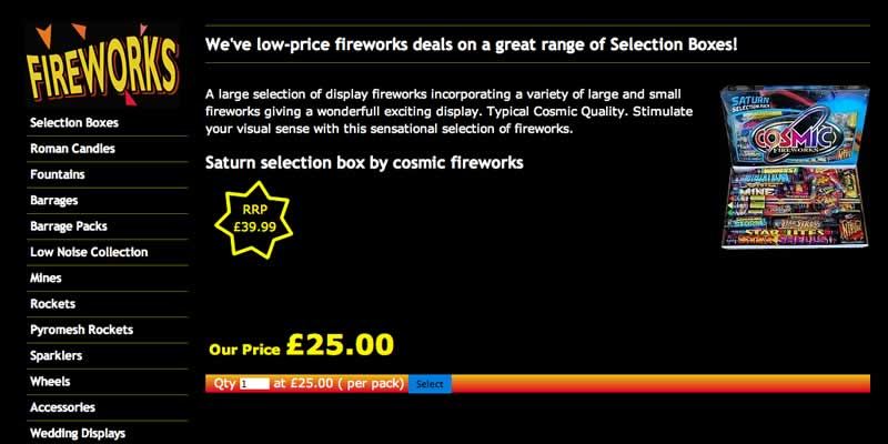 eCommerce website selling online fireworks