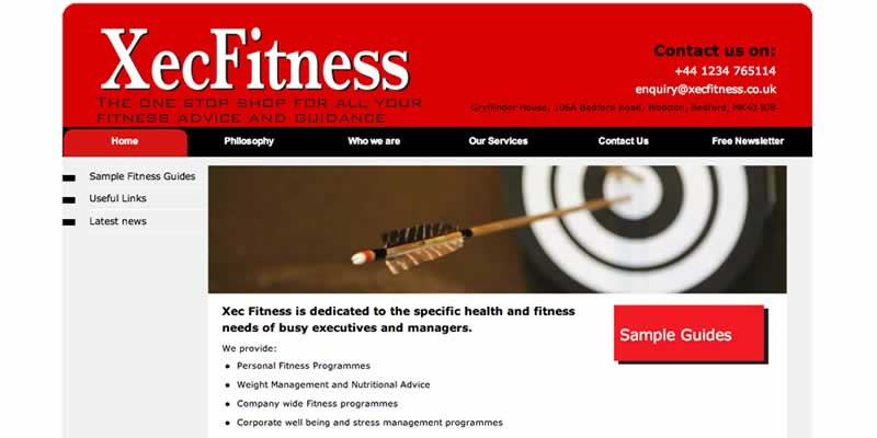 Fitness consultant website design