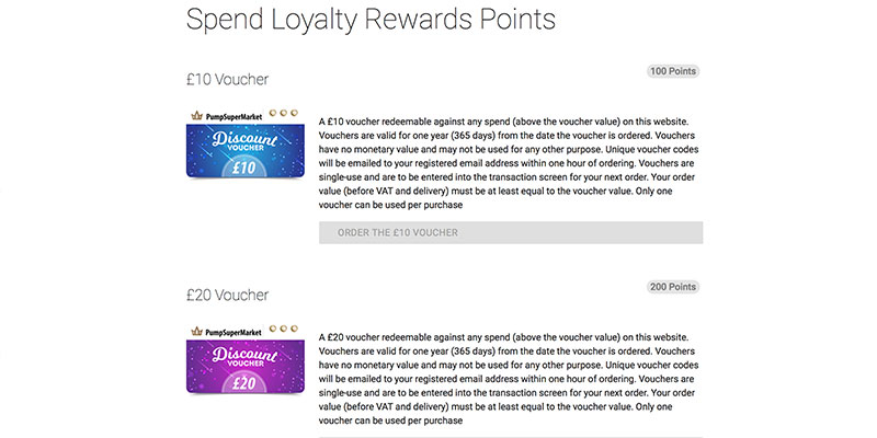 Loyalty points on pumps website