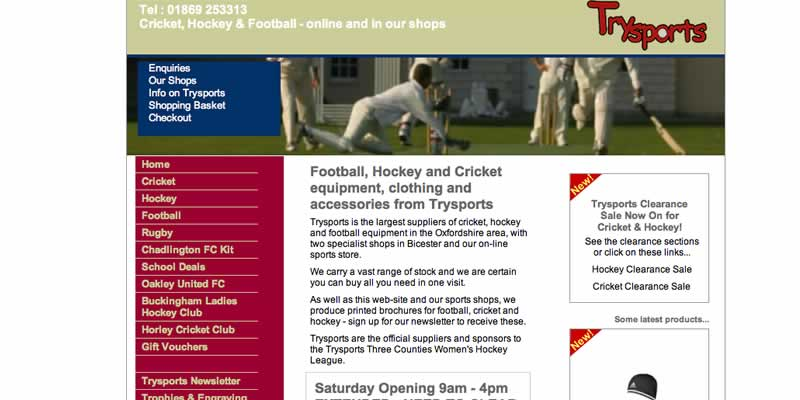 Sports shop website design