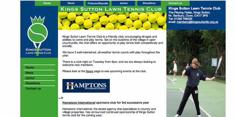 Tennis club website design