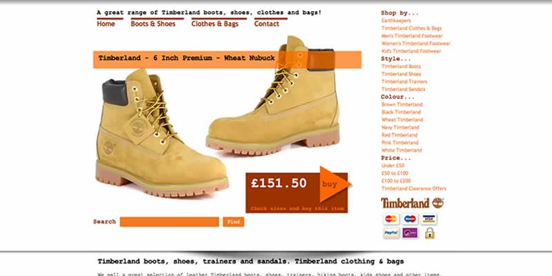 Timberland boot website design